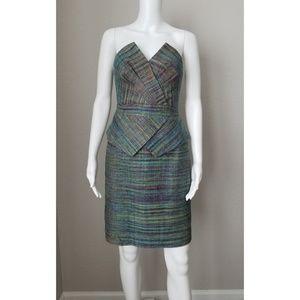 TRINA TURK strapless tweed peplum dress
